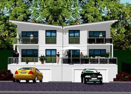...individuell geplant ! - Futuristisches Pultdach-Doppelhaus mit Bauhausambiente - www.jk-traumhaus.de