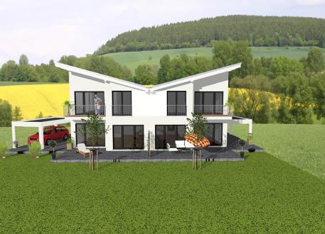 Pultdachhaus ...individuell geplant ! - Futuristisches Pultdach-Doppelhaus - www.jk-traumhaus.de