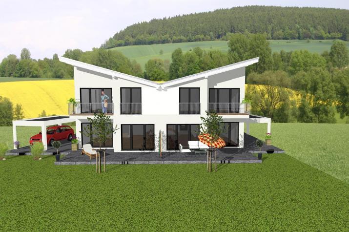 ...individuell geplant ! - Futuristisches Pultdach-Doppelhaus - www.jk-traumhaus.de -