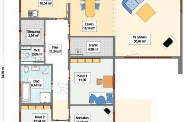individuell geplant idyllischer winkelbungalow auf wunsch mit integrierter garage. Black Bedroom Furniture Sets. Home Design Ideas
