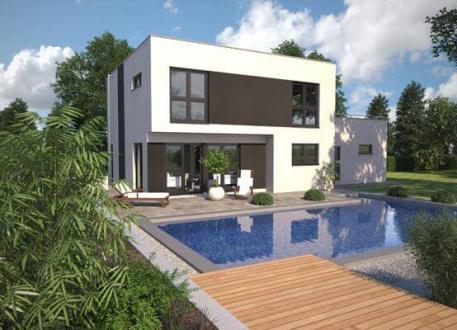 Luxushaus ...individuell geplant ! - Kompaktes Bauhaus mit Garage und Dachterrasse - www.jk-traumhaus.de