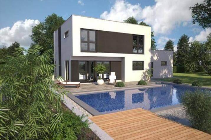...individuell geplant ! - Kompaktes Bauhaus mit Garage und Dachterrasse - www.jk-traumhaus.de - Außenansicht Gartenseite