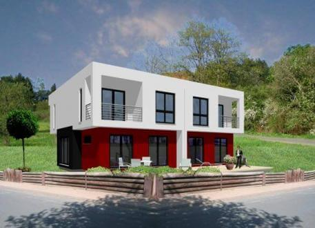 Moderne doppelhäuser flachdach  ᐅ Doppelhaus bauen | 94 Doppelhäuser mit Grundrissen und Preisen
