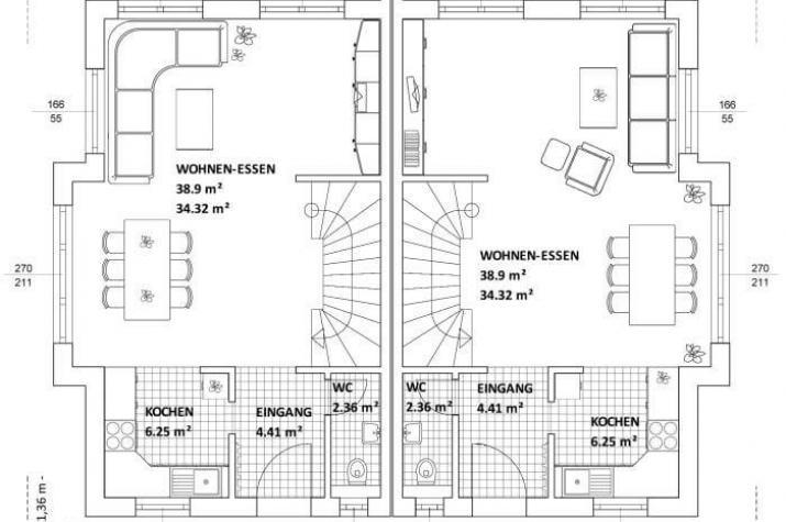 ...individuell geplant ! - Kubisches Doppelhaus in Bauhausoptik - markant und modern mal zwei  - www.jk-traumhaus.de - Grundriss EG