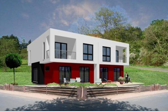 individuell geplant kubisches doppelhaus in bauhausoptik markant und modern mal zwei. Black Bedroom Furniture Sets. Home Design Ideas
