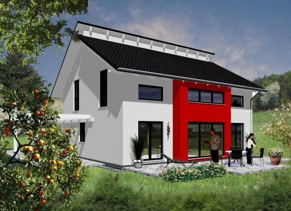 Individuell geplant markantes architektenhaus mit for Modernes haus mit versetztem pultdach