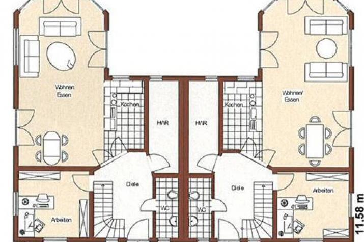 individuell geplant nordisches doppelhaus mit runderkern. Black Bedroom Furniture Sets. Home Design Ideas