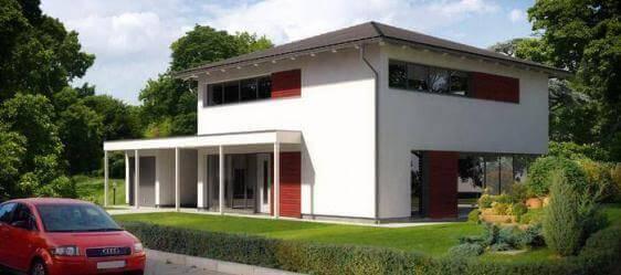 stadtvilla in moderner architektur mit gro en fensterfl chen. Black Bedroom Furniture Sets. Home Design Ideas