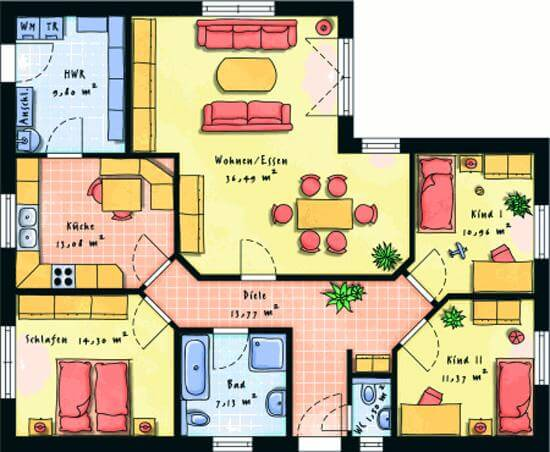 winkelbungalow 118 m. Black Bedroom Furniture Sets. Home Design Ideas