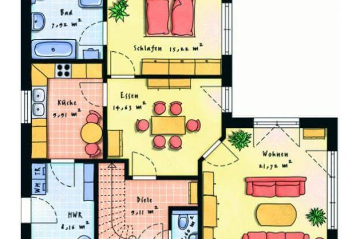 winkelbungalow f r singles oder paare. Black Bedroom Furniture Sets. Home Design Ideas