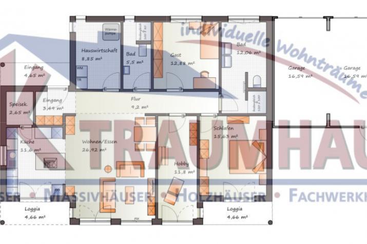 ...individuell geplant ! - Winkelbungalow mit Erker - www.jk-traumhaus.de - Grundriss EG