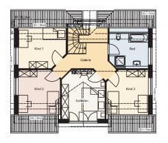Obergeschoss eines Familienhauses der Firma Bau-HAus24 - Viel Platz für Schlafzimmer der Eltern und der Kinder.