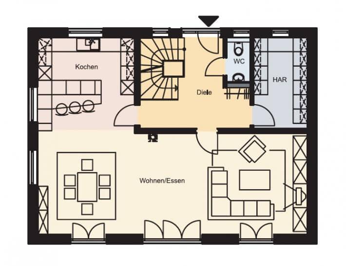 Grundriss Des Erdgeschosses Eines Einfamilienhauses Der Firma Bau Haus24    Großes Wohnzimmer Mit Esszimmer Und ...