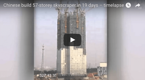 Krass die Chinesen: Hochhaus mit 57 Stockwerke in 19 Tagen gebaut